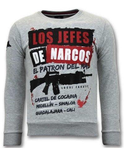 Local Fanatic Sweater Men - Los Jefes De Narcos - Grau