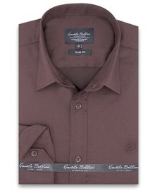 Gentili Bellini Camisa Clasica Hombre - Luxury Plain Satin - Marrón