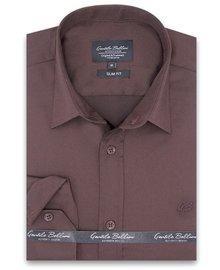 Gentili Bellini Mens Shirts - Luxury Plain Satin - Brown