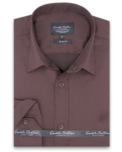 Gentili Bellini Heren Overhemd - Luxury Plain Satin - Bruin