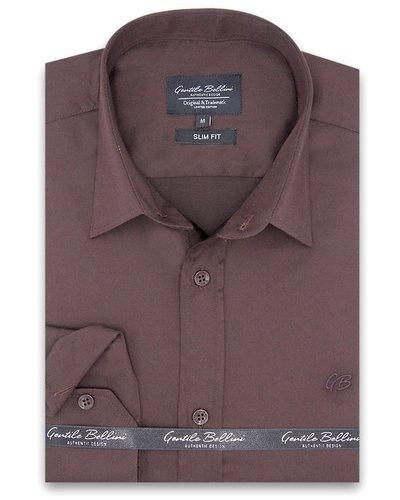Gentili Bellini  Herrenhemd - Luxus Plain Satin - Braun
