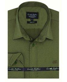 Gentili Bellini Camisa Clasica Hombre - Luxury Plain Satin - Verde