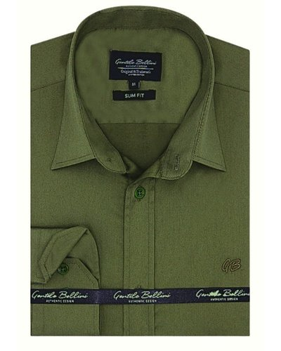 Gentili Bellini Mens Shirts - Luxury Plain Satin - Green