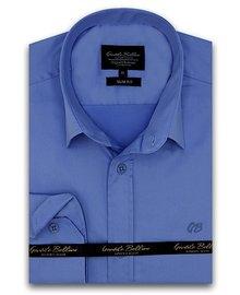 Gentili Bellini Heren Overhemd - Luxury Plain Satin - Blauw