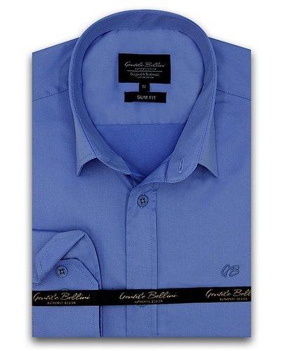 Gentili Bellini Camisa Clasica Hombre - Luxury Plain Satin - Azul