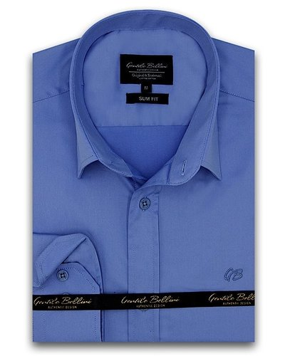 Gentili Bellini Mens Shirts - Luxury Plain Satin - Blue