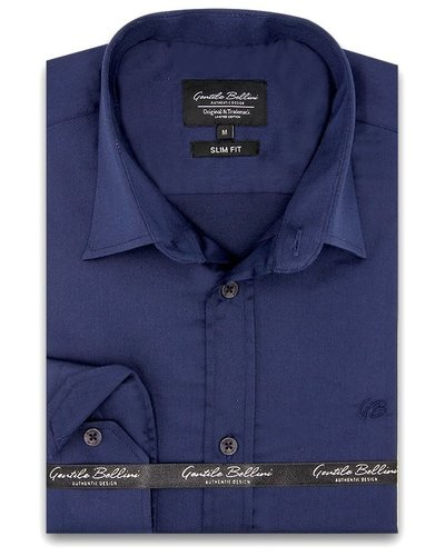 Gentili Bellini Mens Shirts - Luxury Plain Satin -  Navy