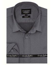 Gentili Bellini Herrenhemd - Luxus Plain Satin - Grau