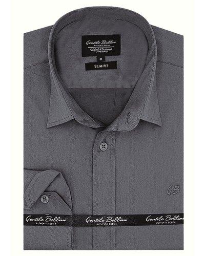 Gentili Bellini Heren Overhemd - Luxury Plain Satin - Grijs