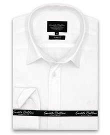 Gentili Bellini Camisa Clasica Hombre - Luxury Plain Satin - Blanco