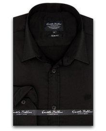 Gentili Bellini Herrenhemd - Luxus Plain Satin - Schwarz