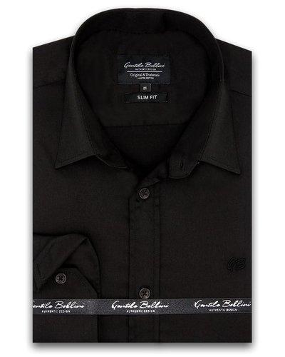 Gentili Bellini Mens Shirts - Luxury Plain Satin - Black