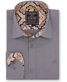Gentili Bellini Camisa Clasica Hombre - Paisley Design - Gris