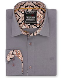 Gentili Bellini Mens Shirts - Paisley Design - Grey