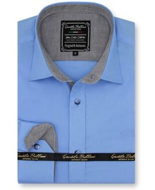 Gentili Bellini Herrenhemd - Chambray Design- Blau