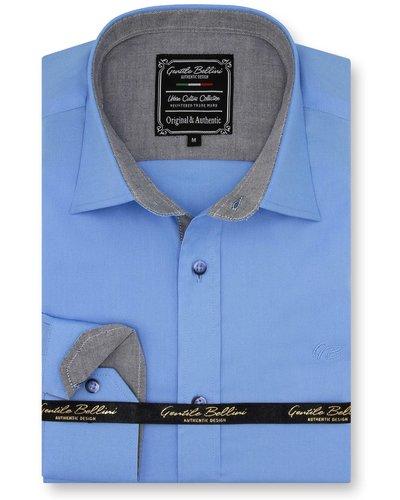 Gentili Bellini Heren Overhemd - Chambray Design - Blauw
