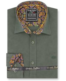Gentili Bellini Herrenhemd - Paisley Design - Grün