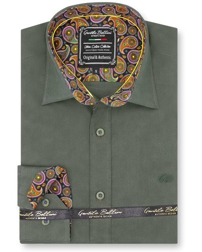 Gentili Bellini Mens Shirts - Paisley Design - Green