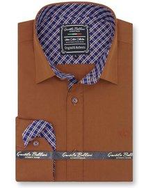 Gentili Bellini Heren Overhemd - Chambray Design - Bruin