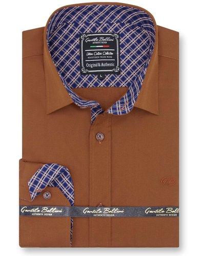 Gentili Bellini  Herrenhemd - Chambray Design-  Braun