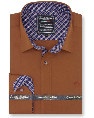 Gentili Bellini Mens Shirts - Chambray Design - Brown