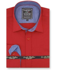 Gentili Bellini Camisa Clasica Hombre - Chambray Design - Rojo