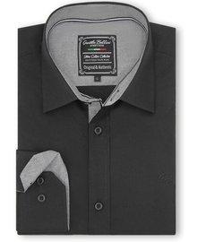 Gentili Bellini Camisa Clasica Hombre - Chambray Design - Negro
