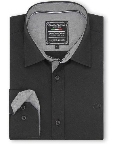 Gentili Bellini  Herrenhemd - Chambray Design-  Schwarz