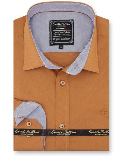Gentili Bellini Heren Overhemd - Chambray Design - Licht Bruin