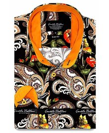 Gentili Bellini Camisa Clasica Hombre - Luxury Design Satin - Marrón / Oranje