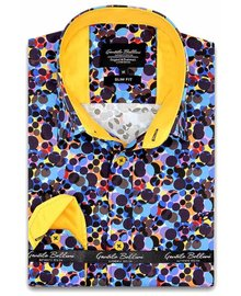 Gentili Bellini Herrenhemd - Luxus Design Satin - Blau / Gelb