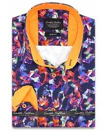 Gentili Bellini Heren Overhemd - Luxury Design Satin - Blauw / Oranje