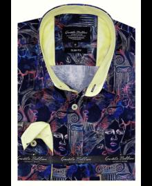 Gentili Bellini Camisa Clasica Hombre - Luxury Design Satin - Negro / Amarillo