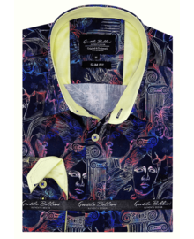 Gentili Bellini Mens Shirts - Luxury Design Satin -Black / Yellow