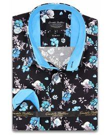 Gentili Bellini Herrenhemd - Luxus Design Satin - Schwarz / Blau