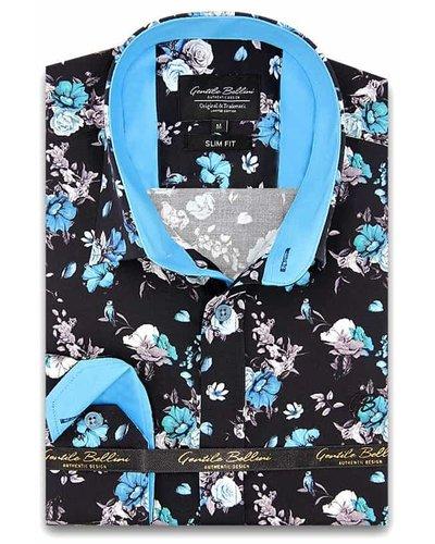 Gentili Bellini Camisa Clasica Hombre - Luxury Design Satin - Negro / Azul