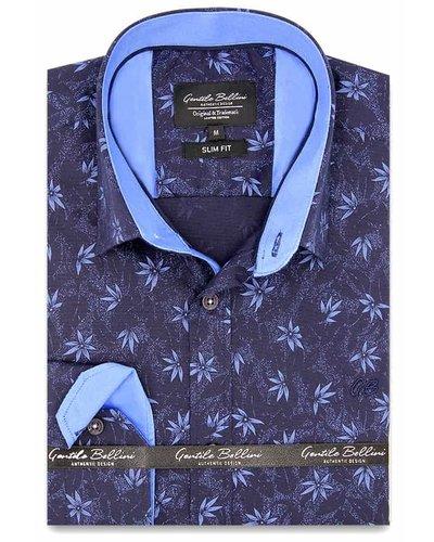 Gentili Bellini Heren Overhemd - Autumn Leaf - Blauw