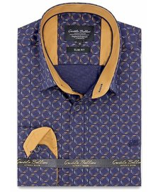 Gentili Bellini Heren Overhemd - Dotted Shapes - Blauw