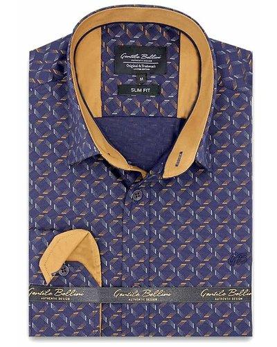Gentili Bellini  Herrenhemd - Dotted Shapes - Blau