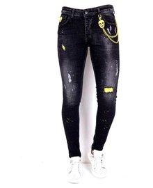 Local Fanatic Heren Jeans - Slim Fit - LF-DNM-1003- Zwart