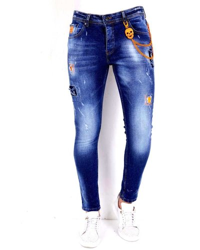 Local Fanatic Heren Jeans - Slim Fit - LF-DNM-1006 - Blauw