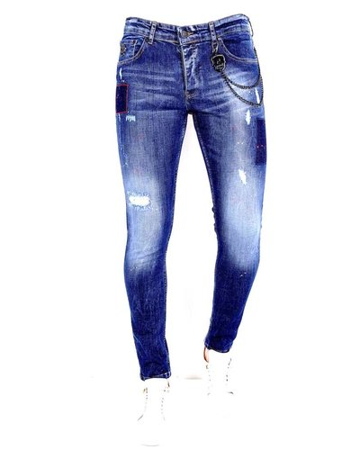 Local Fanatic Heren Jeans - Slim Fit - LF-DNM-1001 - Blauw
