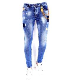 Local Fanatic Heren Jeans - Slim Fit - LF-DNM-1008 - Blauw