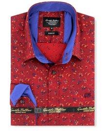 Gentili Bellini Camisa Clasica Hombre - Flowers leaves  - Rojo