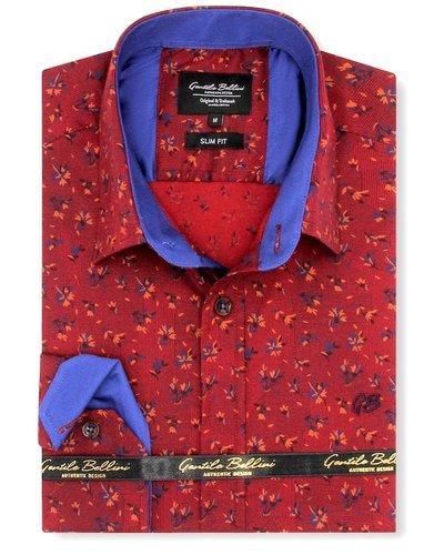 Gentili Bellini Heren Overhemd - Flowers leaves - Rood