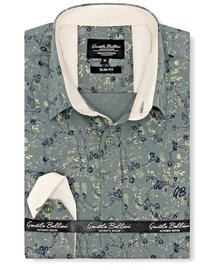 Gentili Bellini Mens Shirts - Flowers leaves - Green