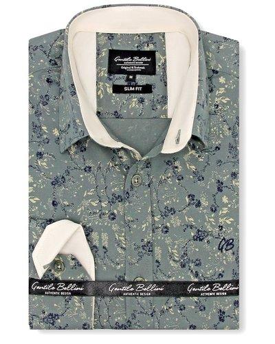 Gentili Bellini Heren Overhemd - Flowers leaves - Groen