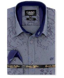 Gentili Bellini Herrenhemd - Flowers Design - Blau