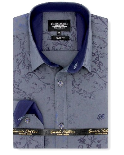 Gentili Bellini Heren Overhemd - Flowers Design - Blauw