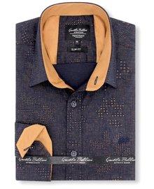 Gentili Bellini Heren Overhemd - Dotted Design - Blauw